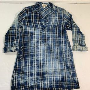 Anthropologie Cloth And Stone Tunic Dress Plaid L